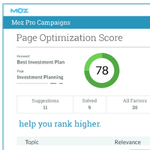 Moz On Page Grader for SEO Writing Services
